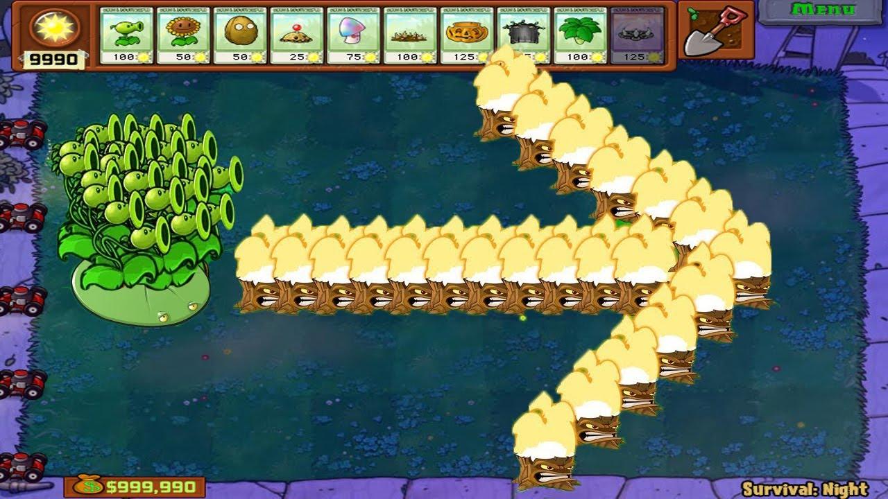 Plants vs Zombies Hack - 1 Threepeater Hack vs 99 Giga Gargantuar Zombie