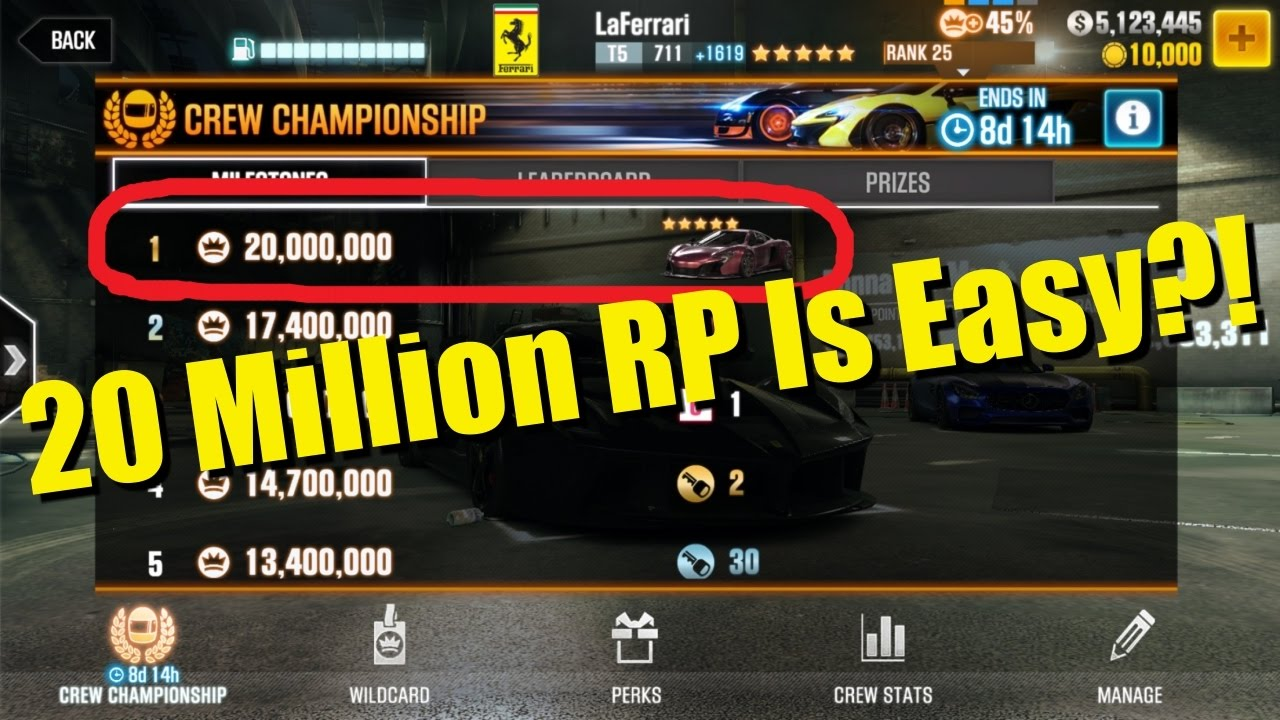 How Easy Is It To Get 20 Million RP Per Crew Season? | CSR Racing 2