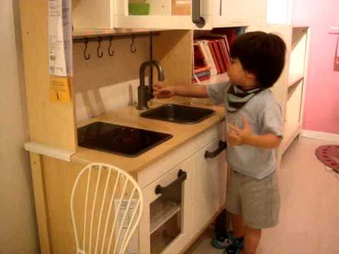 Tony Heinrich 21 Months Playing At Ikea Kids Kitchen Youtube