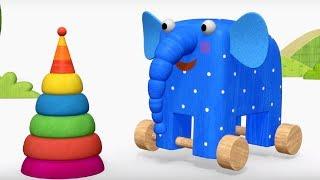 Деревяшки - Картина + Пирамидка - обучающие мультфильмы для малышей 0-4