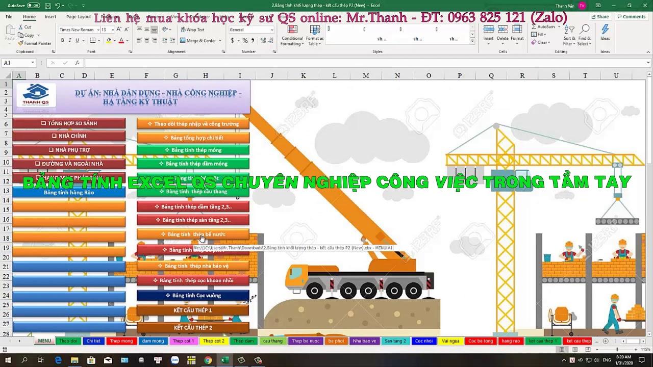 Bảng tính khối lượng Thép – Kết cấu thép – Kỹ sư QS chuyên nghiệp- Mr.Thanh-ĐT- 0963 825 121 (Zalo)