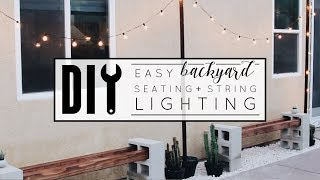 Easy DIY Backyard Seating + String Lighting