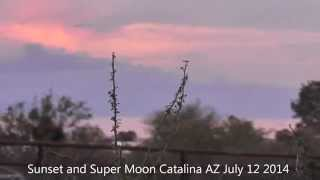 Sunset & Super Moon over the Catalina Mountains AZ July 12 2014