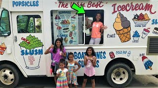Kids pretend play selling at ice cream truck in real life and toy truck