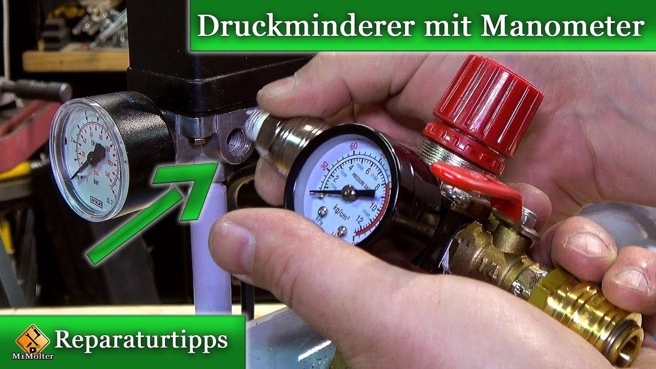 Hervorragend Kompressor - Druckregler / Druckminderer mit Manometer anbauen XJ17