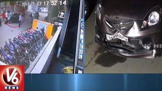 CCTV Visuals | Speedy Car Hits Two Motorcycles In SR Nagar | Hyderabad | V6 News