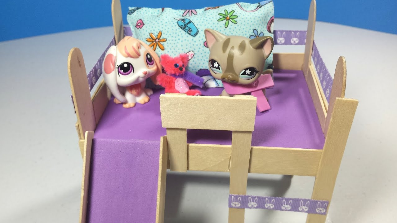 How Make Lps Loft Bed Optional Slide Amp Desk Doll Diy Youtube