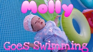 Molly Takes A Swim! Runaway Baby!  Baby Swims Alone! Comedy Baby Doll! Reborn Baby! Lost At Sea!