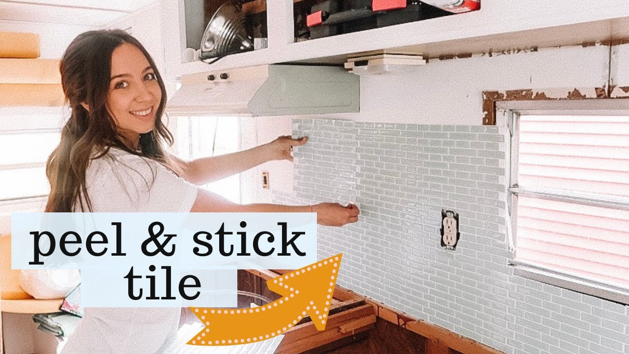 How To Peel And Stick Kitchen Tile In Our Camper Easy Affordable Kitchen Backsplash Youtube