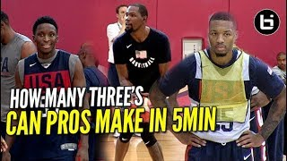 HOW MANY THREE'S CAN NBA PROS MAKE IN 5MIN? Durant, Lillard, and Oladipo!