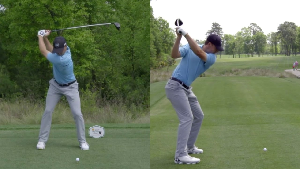 Jordan Spieth Slow Motion Golf Swing Down The Line And Face On
