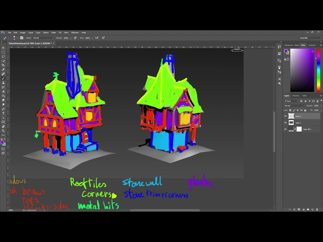 Medieval House Timelapse - Part 2: Starting the texture and first floor
