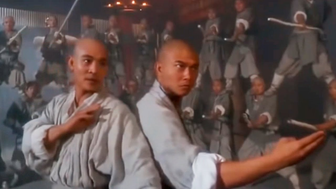 Jet Li e seu amigo na luta com bastões Shaolin 太极张三丰 Tai Chi Master 1993