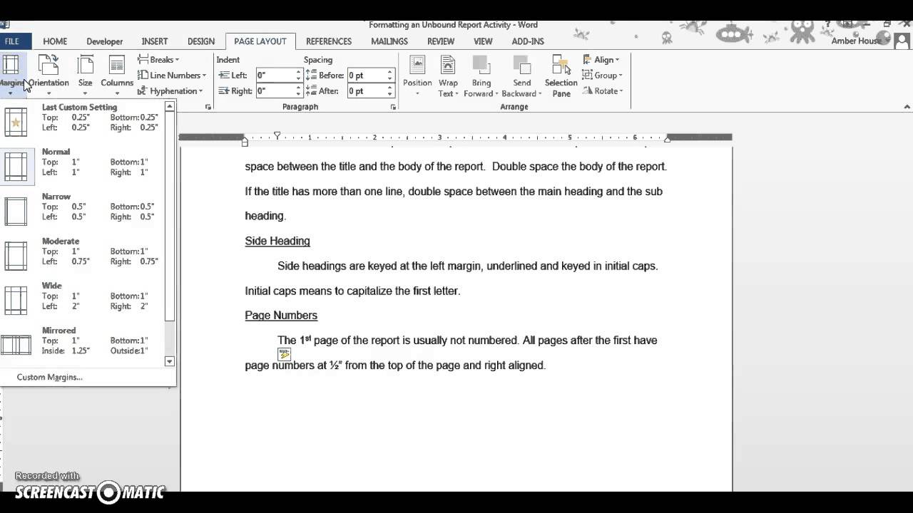 Formatting an Unbound Report - YouTube