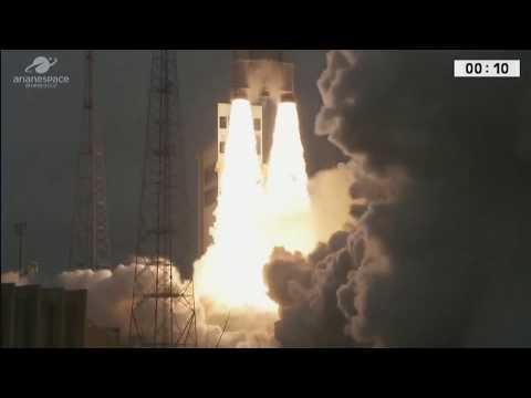 Liftoff - LIVE Arianespace Ariane 5 ES VA240 Rocket Launching Galileo 19-22 Navigation Satellites