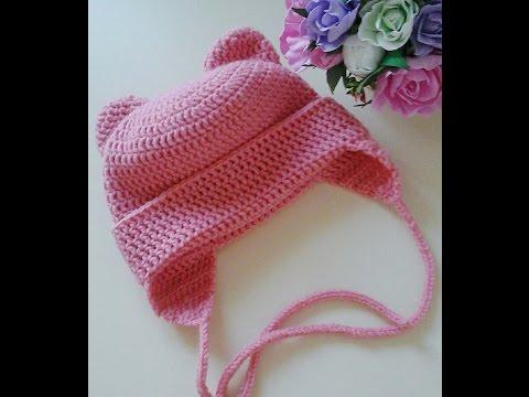 Вязание крючком детская шапка с ушками