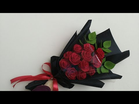 Wrapping rose bouquet felt flowers | cara membungkus buket mawar flanel