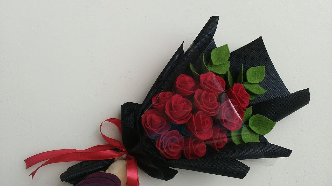Wrapping Rose Bouquet Felt Flowers Cara Membungkus Buket Mawar Flanel Youtube
