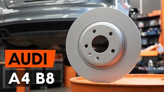 Hoe een remschijven achteraan vervangen op een AUDI A4 B8 Sedan [AUTODOC-TUTORIAL]
