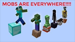 MINECRAFT MOB PARKOUR  / ALL OF THESE MOBS HATE ME !!!!