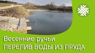 Весенние ручьи. Перелив воды из пруда.