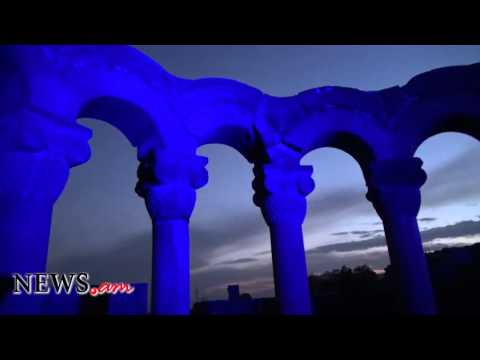 "7th century Armenian ""Zvartnots"" cathedral lights up UN blue on 70th anniversary"