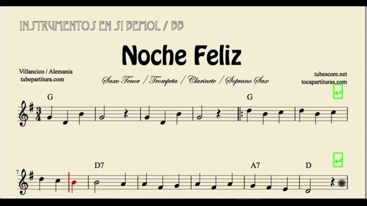 Feliz Navidad Clarinete.Noche Feliz Partitura De Trompeta Saxofon Tenor Clarinete Saxofon Soprano En Si Bemol Villancico