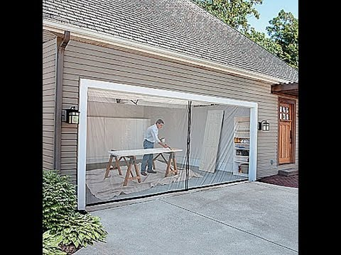 Improvements 2car garage screen kit youtube for Roll down garage door screen