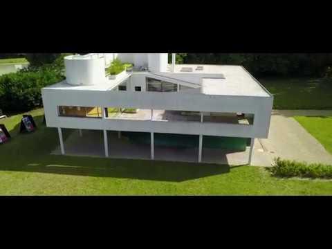 drone view Villa Savoye