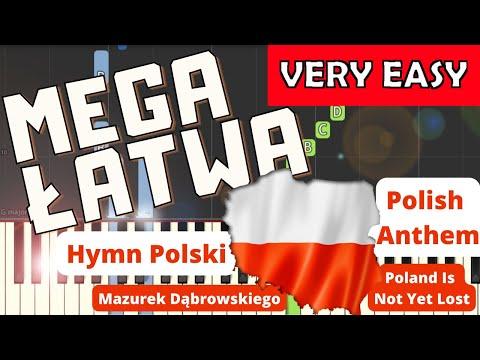 🎹 Hymn Polski (Mazurek Dąbrowskiego, POLISH ANTHEM) - Piano Tutorial (MEGA ŁATWA wersja) VERY EASY 🎹