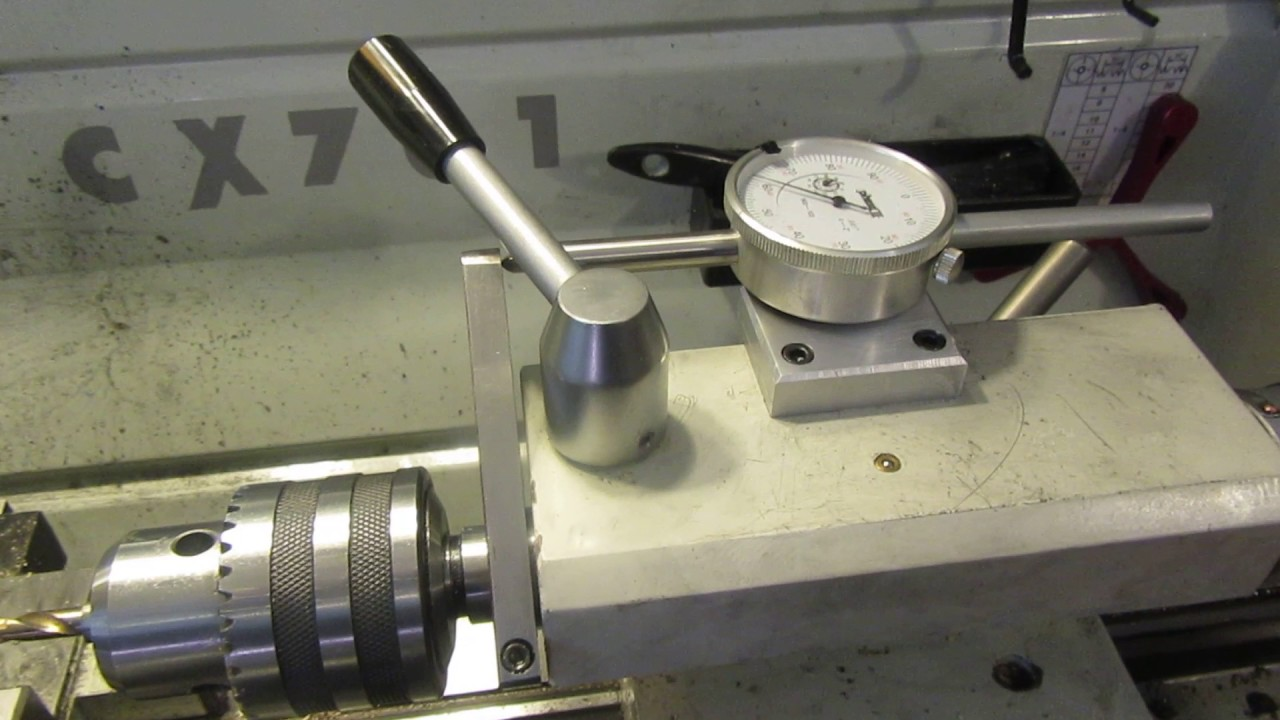 Dial Indicator Mounting In Collet : Dial indicator on lathe tailstock quill youtube