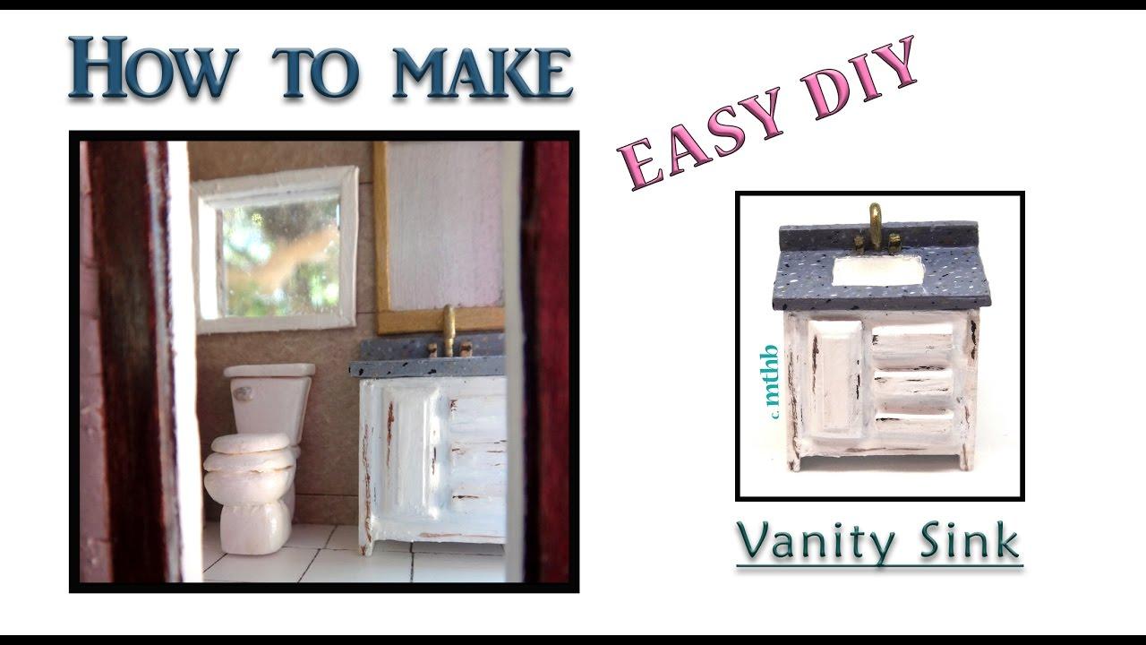 How To Make A Doll Vanity Bathroom Sink; DIY Miniature Vanity Bathroom Sink