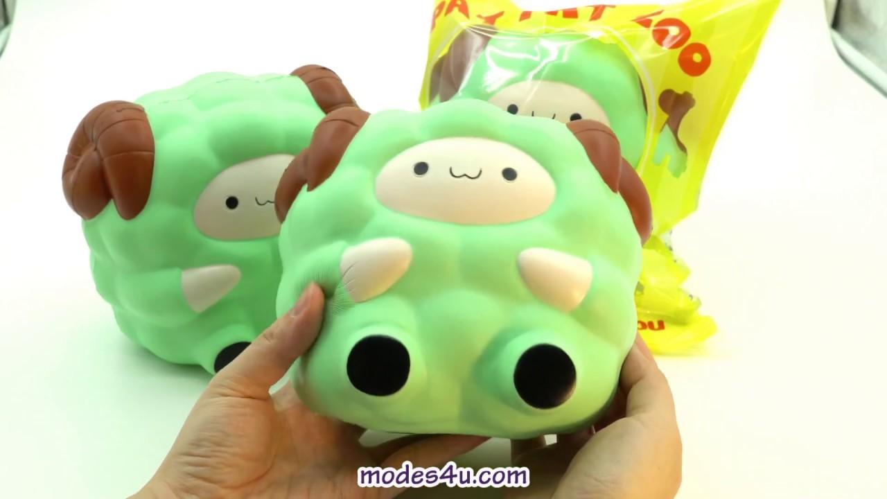 Adams Squishy Animals : green Jumbo Sheep Pat Pat Zoo squishy - YouTube