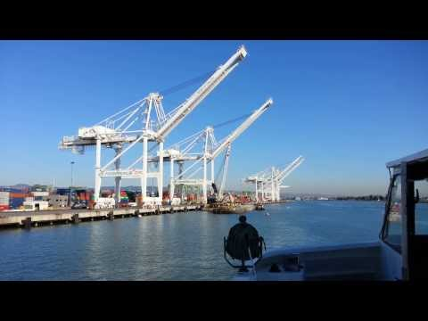 Ferry Ride View. Shipping Container Cranes of the Port of Oakland
