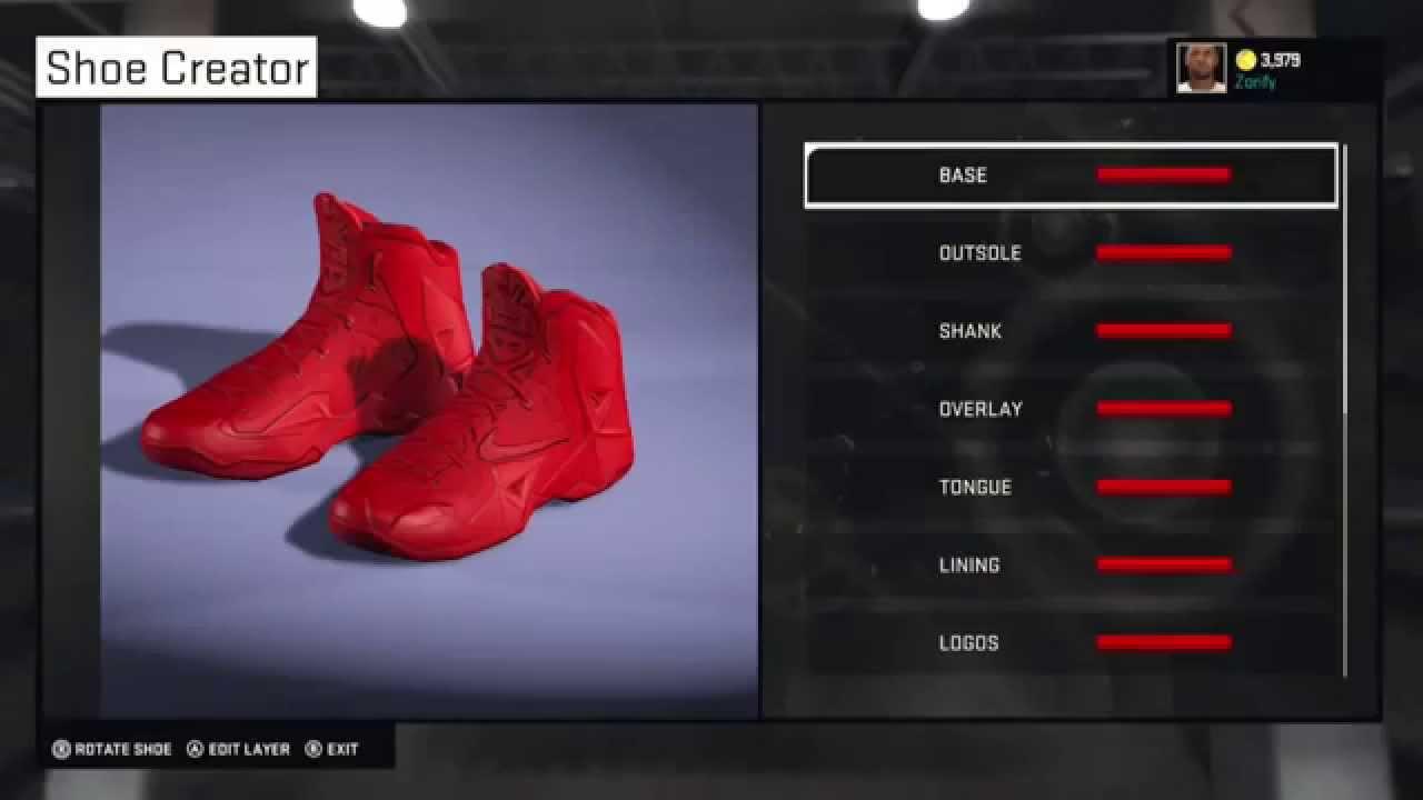"NBA 2K15 Shoe Creator - Nike LeBron 11 Custom ""Red October ..."