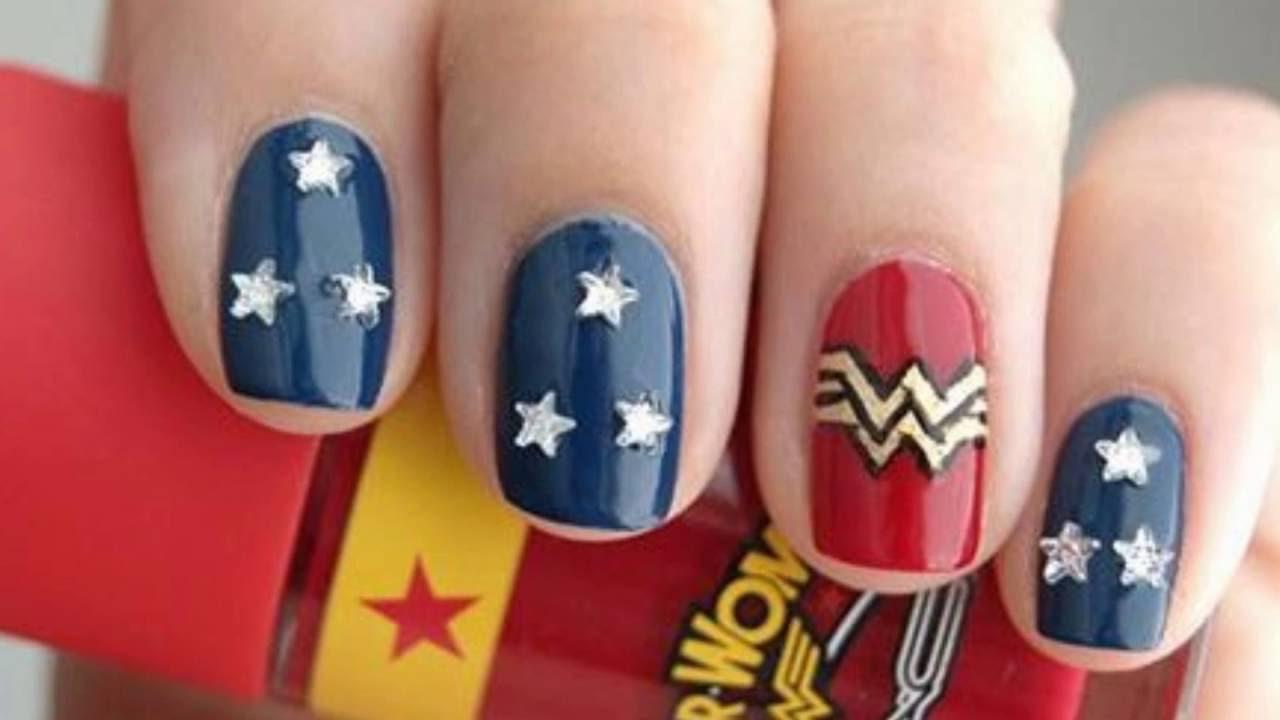 Wonder Woman Nail Art 2016 - YouTube