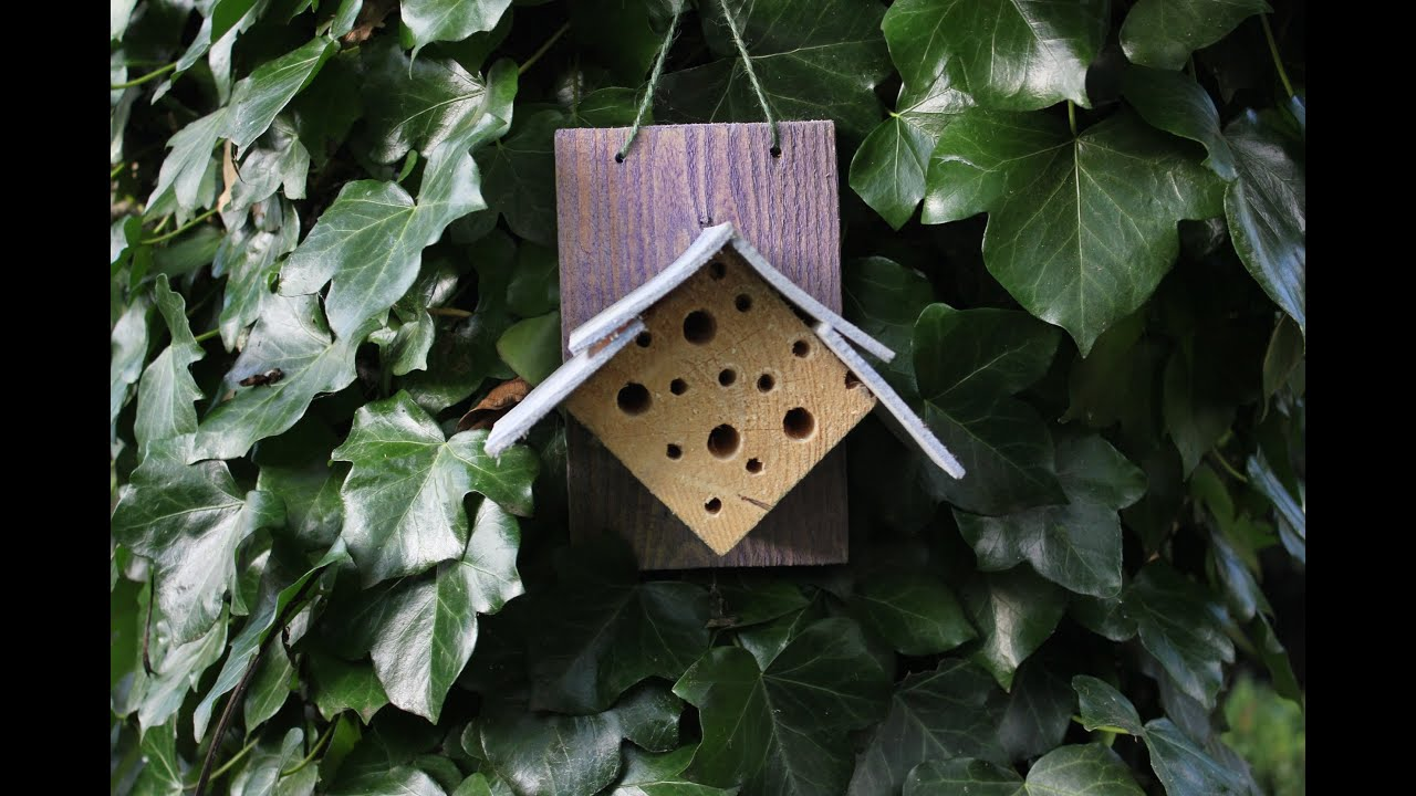 Home Made Insect Hotel For Solitary Bees Repurposed Wood