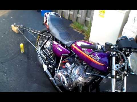 1973 Kawasaki H2 750 Dragbike Start Up Youtube