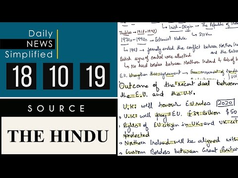 Daily News Simplified 18-10-19 (The Hindu Newspaper - Current Affairs - Analysis for UPSC/IAS Exam)