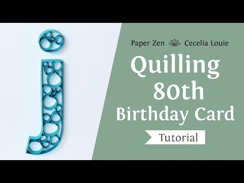 Quilling 80th Birthday Monogram Lowercase Letter J