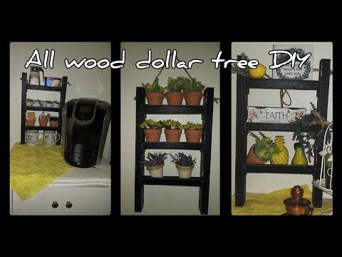 Dollar tree DIY all wood farmhouse shelves for herb garden/spice rack #dollartreediy/coffee station