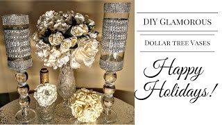 DIY| Glamorous Dollar Tree Vases💎| Centerpieces| DIY Glam Decor