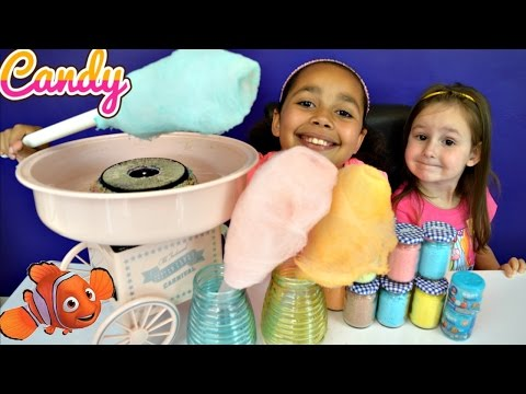 Cotton Candy Machine - DIY Giant Candy Floss Lollipops - Finding Dory Mashems Toy  Opening