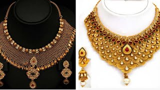 Latest Gold Jewelry Set Designs With Earrings 2018 | New Jewelry Fashionable Collection For Marriage