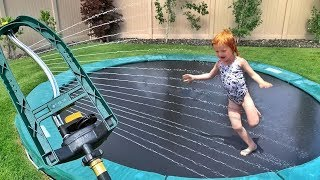 New Trampoline Game Backyard Water Park Routine With Dad