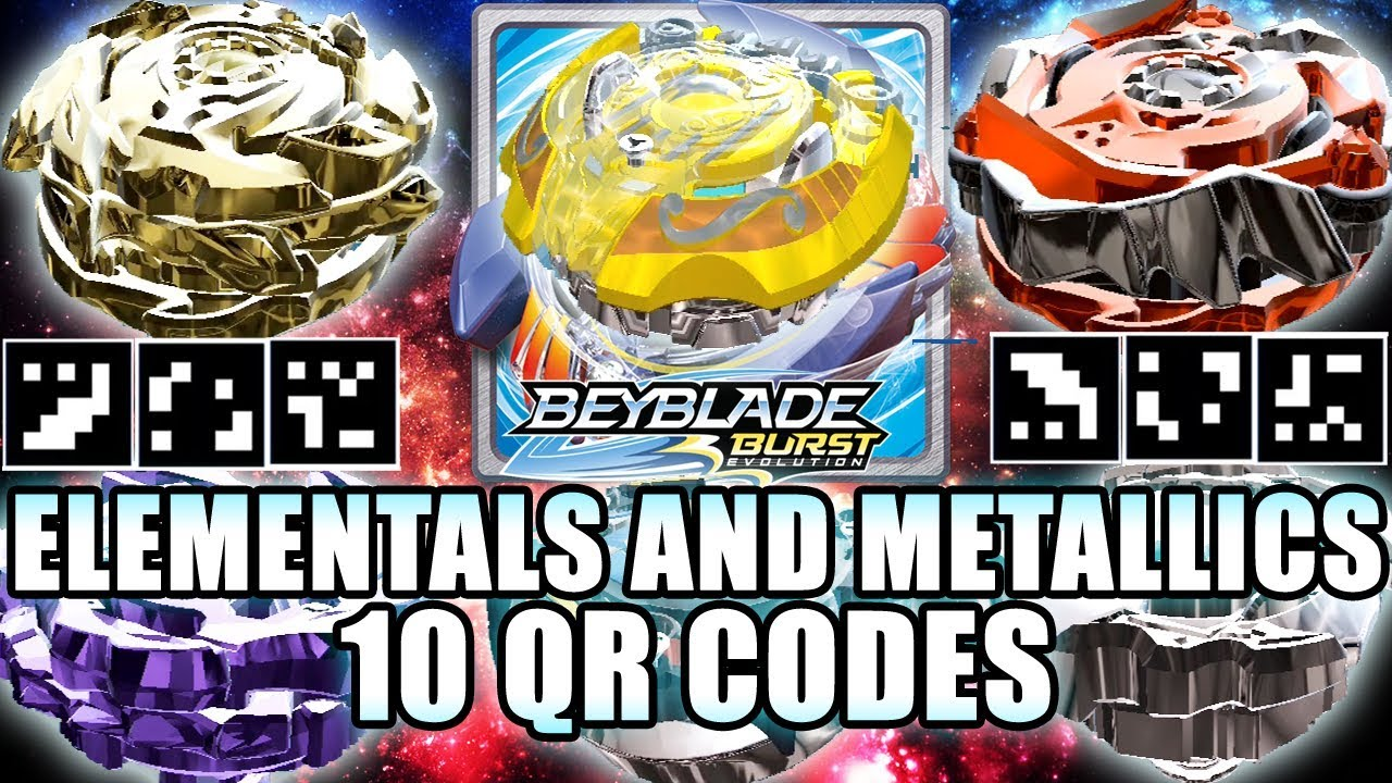 10 QR CODES: ORPHEUS, ELEMENTALS & METALLICS VOL.1 - BEYBLADE BURST APP QR CODES #1