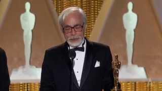 Hayao Miyazaki receives an Honorary Award at the 2014 Governors Awards thumbnail