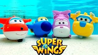 Aviões Super Wings Nadando na Piscina 출동슈퍼윙스 신제품 장난감 Super Wings Squirt Underwater Pool Toys