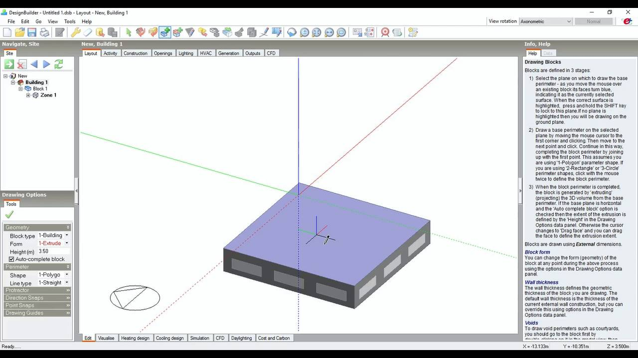 Designbuilder Tutorial Creating A New Building Adding Zones And New Storey Youtube