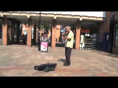 Roger Wilson busking in St Martins Square, Leicester